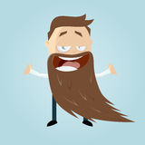 Funny cartoon man with a long beard Royalty Free Stock Photos