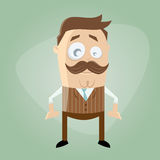 Funny cartoon man with mustache Royalty Free Stock Photography