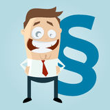 Funny cartoon man with paragraph sign Royalty Free Stock Photography