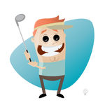 Funny cartoon man playing golf Royalty Free Stock Photo