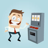 Funny cartoon man is playing slot machine Royalty Free Stock Photo