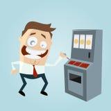 Funny cartoon man is playing slot machine. Illustration of a funny cartoon man is playing slot machine Royalty Free Stock Photo