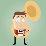 Funny cartoon man playing tuba Stock Images