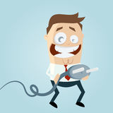 Funny cartoon man with plug Royalty Free Stock Images