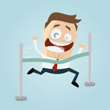 Funny cartoon man reaching finishing line Stock Image