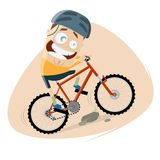 Funny cartoon man is riding a mountain bike Royalty Free Stock Images
