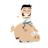 Funny cartoon man is riding a piggy bank Stock Photography