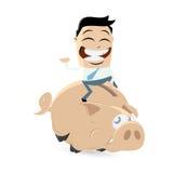 Funny cartoon man is riding a piggy bank Stock Photography