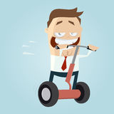 Funny cartoon man on roller Royalty Free Stock Photo