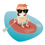Funny cartoon man in a rubber boat Royalty Free Stock Photography