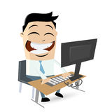 Funny cartoon man sitting on computer Royalty Free Stock Images