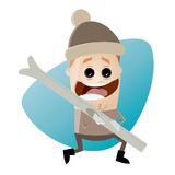 Funny cartoon man with skis. Illustration of a funny cartoon man with skis Stock Photography