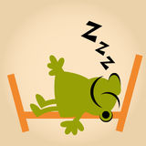 Funny cartoon man is sleeping Stock Photos