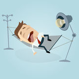 Funny cartoon man sleeping and dribbling in hammock Royalty Free Stock Images