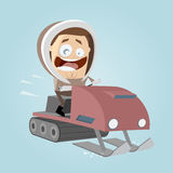 Funny cartoon man with snowmobile Royalty Free Stock Images