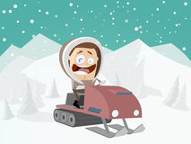 Funny cartoon man with snowmobile and winter background Stock Images