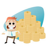 Funny cartoon man with stack of money Royalty Free Stock Photos