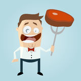 Funny cartoon man with steak Royalty Free Stock Photo