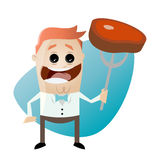 Funny cartoon man with steak. Illustration of a funny cartoon man with steak Royalty Free Stock Photos