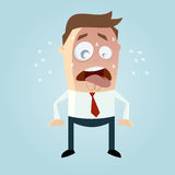Funny cartoon man is sweating