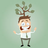Funny cartoon man with tree on his head Stock Image