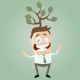 Funny cartoon man with tree on his head Stock Image