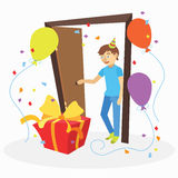 Funny cartoon man with unexpected birthday gift Royalty Free Stock Photos