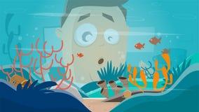 Funny cartoon man watching in an aquarium. Clipart of a funny cartoon man watching in an aquarium vector illustration