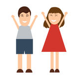 Funny cartoon man and woman Royalty Free Stock Photography