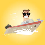 Funny cartoon man on a yacht Stock Images