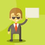 Funny cartoon manager in various poses Royalty Free Stock Photography