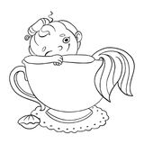 Funny cartoon mermaid in a cup of tea. Vector contour illustration for coloring.  Stock Photo