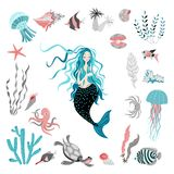 Funny cartoon mermaid surrounded by tropical fish, animal, seaweed and corals. Fairy tale character. Sea life. royalty free stock photos