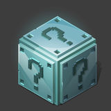 Funny cartoon metallic isometric question box. Royalty Free Stock Image