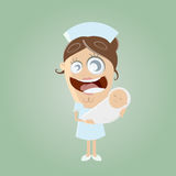 Funny cartoon midwife with baby Stock Photography
