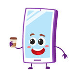Funny cartoon mobile phone, smartphone character holding paper coffee cup. Vector illustration isolated on white background. Happy cartoon mobile phone Stock Photos