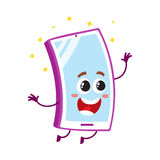 Funny cartoon mobile phone, smartphone character jumping from happiness Royalty Free Stock Photos