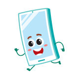 Funny cartoon mobile phone, smartphone character running, hurrying somewhere Stock Photos