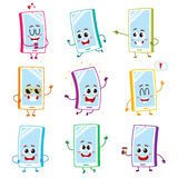 Funny cartoon mobile phone, smartphone character set with human faces. Set of funny cartoon mobile phone, smartphone characters with human faces showing various Royalty Free Stock Image