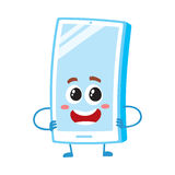 Funny cartoon mobile phone, smartphone character standing arms akimbo. Funny cartoon mobile phone, smartphone character with shiny screen standing arms akimbo Royalty Free Stock Image