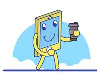 Funny cartoon mobile phone stock illustration