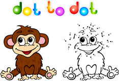 Funny cartoon monkey dot to dot Stock Photography
