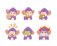 Funny cartoon monkey emotion stickers Royalty Free Stock Photos