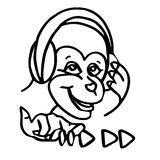 A funny cartoon monkey is listening to music on headphones. stock illustration