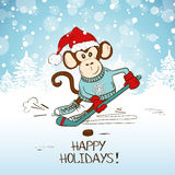 Funny Cartoon Monkey Playing Hockey. Symbol of the New Year 2016. New Year and Christmas greeting card Royalty Free Stock Images