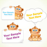 Funny Cartoon Monkey with Poster and Labels Stock Images