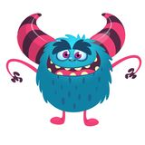 Funny cartoon monster with big mouth. Vector blue monster illustration. Halloween design. Funny cartoon monster with big mouth. Vector blue monster illustration stock illustration
