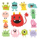 Funny cartoon monster cute alien character creature happy illustration devil colorful animal vector. Funny cartoon monster cute alien character and creature Stock Image