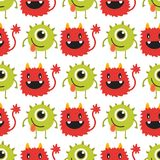 Funny cartoon monster cute alien character creature happy illustration seamless pattern colorful animal vector. Royalty Free Stock Photo
