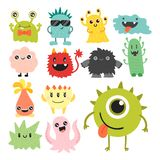 Funny cartoon monster cute alien character creature happy illustration devil colorful animal vector. Funny cartoon monster cute alien character and creature Royalty Free Stock Photos